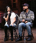"Lauren Boyd and Nicholas Christopher during the eduHAM Q & A before The Rockefeller Foundation and The Gilder Lehrman Institute of American History sponsored High School student #EduHam matinee performance of ""Hamilton"" at the Richard Rodgers Theatre on December 11, 2019 in New York City."