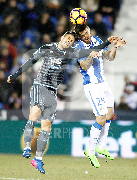 CD Leganes' David Timor (r) and Celta de Vigo's Nemanja Radoja during La Liga match. January 28,2017. (ALTERPHOTOS/Acero)