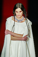 A model presents a creation by Antonio Alvarado during the Pasarela Cibeles fashion show 2005, February 17, 2005 in Madrid. Photo by Victor Fraile / studioEAST