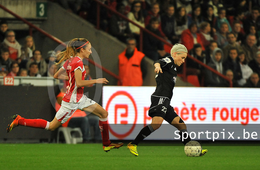 20131009 - LIEGE , BELGIUM : Glasgow Jessica Fishlock (right) pictured with Standard's Tessa Wullaert (left) during the female soccer match between STANDARD Femina de Liege and  GLASGOW City LFC , in the 1/16 final ( round of 32 ) first leg in the UEFA Women's Champions League 2013 in stade maurice dufrasne - Sclessin in Liege. Wednesday 9 October 2013. PHOTO DAVID CATRY