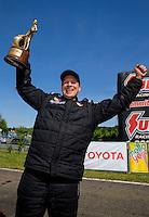 Jun 7, 2015; Englishtown, NJ, USA; NHRA pro mod driver Billy Glidden celebrates after winning during the Summernationals at Old Bridge Township Raceway Park. Mandatory Credit: Mark J. Rebilas-