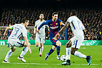 Lionel Andres Messi (C) of FC Barcelona fights for the ball with Victor Moses (R) and Cesar Azpillicueta of Chelsea FC during the UEFA Champions League 2017-18 Round of 16 (2nd leg) match between FC Barcelona and Chelsea FC at Camp Nou on 14 March 2018 in Barcelona, Spain. Photo by Vicens Gimenez / Power Sport Images