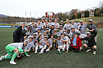 SALEM, VA - DECEMBER 3:The Tufts Jumbospose for a team photo with the National Championship trophy after winning theDivision III Men's Soccer Championship held at Kerr Stadium on December 3, 2016 in Salem, Virginia. Tufts defeated Calvin 1-0 for the national title. (Photo by Kelsey Grant/NCAA Photos)