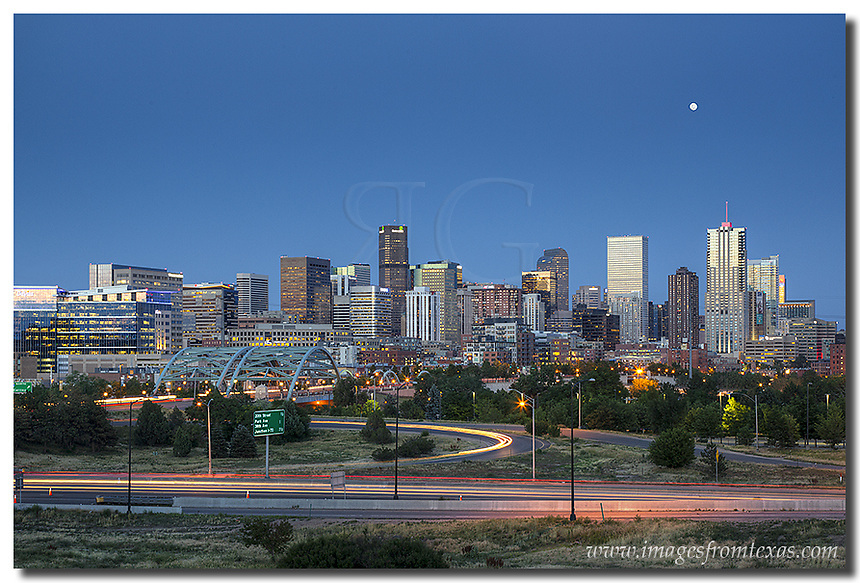 The Denver skyline comes alive at night in the beautiful mile-high ...