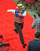 Stephen Colbert, host of The Late Show with Stephen Colbert on CBS-TV, practices a bit in one of the aisles of the floor of the 2016 Republican National Convention in the Quicken Loans Arena in Cleveland, Ohio on Sunday, July 17, 2016.<br /> Credit: Ron Sachs / CNP<br /> (RESTRICTION: NO New York or New Jersey Newspapers or newspapers within a 75 mile radius of New York City)