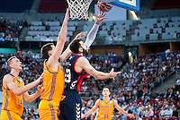 Baskonia's player Tornike Shengelia and Herbalife Gran Canaria's player Darko Planinic during the match of the semifinals of Supercopa of La Liga Endesa Madrid. September 23, Spain. 2016. (ALTERPHOTOS/BorjaB.Hojas)