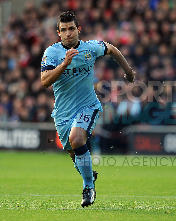 Sergio Aguero of Manchester City<br /> - Barclays Premier League - Southampton vs Manchester City - St Mary's Stadium - Southampton - England - 30th November 2014 - Pic Robin Parker/Sportimage