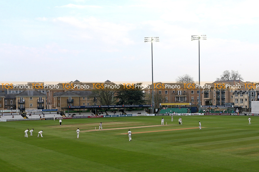 The floodlights in use during Essex CCC vs Lancashire CCC, Specsavers County Championship Division 1 Cricket at The Cloudfm County Ground on 21st April 2018