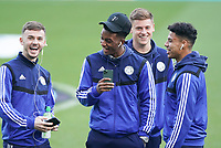 1st January 2020; St James Park, Newcastle, Tyne and Wear, England; English Premier League Football, Newcastle United versus Leicester City; James Maddison of Leicester City enjoys a laugh with Demarai Gray James Justin and Harvey Barnes of Leicester City - Strictly Editorial Use Only. No use with unauthorized audio, video, data, fixture lists, club/league logos or 'live' services. Online in-match use limited to 120 images, no video emulation. No use in betting, games or single club/league/player publications