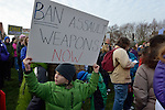 "This boy holds a sign amid hundreds of Seattle residents who marched from Westlake Center Park to the Seattle Center on January 13, 2013, calling for stricter regulations of firearms. Sponsored by a network of churches and other groups called ""Stand-up Washington,"" the demonstrators called for a state ban on semi-automatic weapons as well as stricter gun laws."