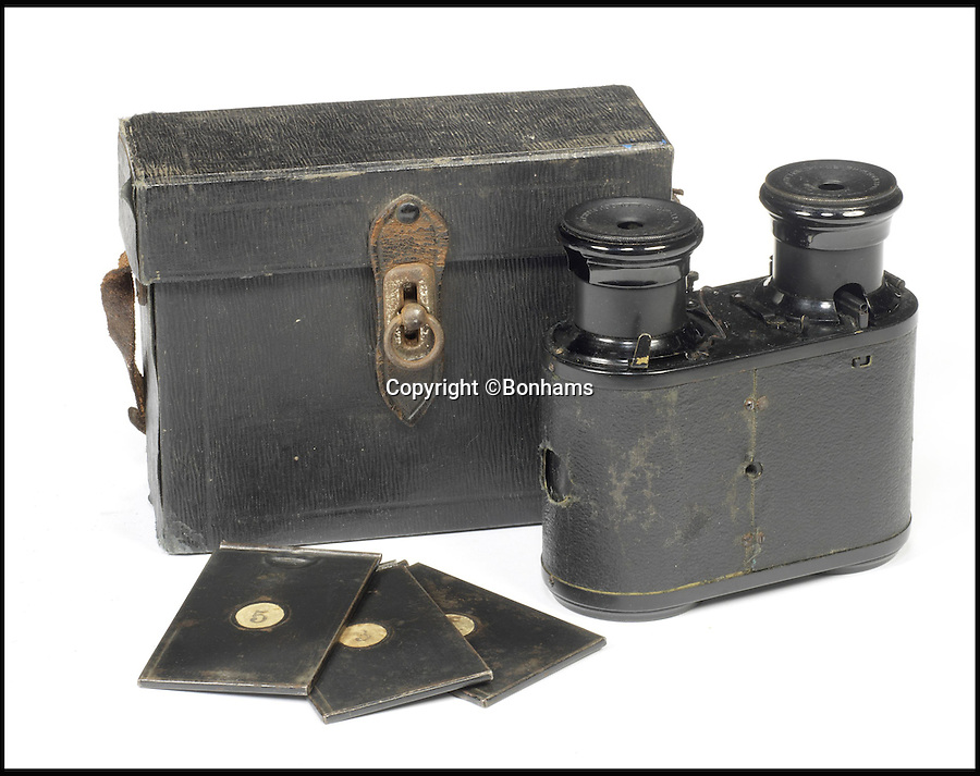 BNPS.co.uk (01202 558833)Pic: Bonhams/BNPS<br /> <br /> Le Physiographe camera was patented in France and Britain in 1896. Estimate &pound;2,600 - &pound;4,300.<br /> <br /> An incredible archive of rare vintage spy cameras that would rival James Bond's own collection has emerged for sale for a staggering &pound;400,000.<br /> <br /> The Heath Robinson-style cameras date from the 1880s and come in numerous wacky guises including a book, a wristwatch, a packet of cigarettes, binoculars and even a handgun.<br /> <br /> Many of the ingenious devices were commercial failures and so very few were made, making surviving examples worth tens of thousands of pounds now.<br /> <br /> The collection will be sold at London auctioneers Bonhams on December 3.