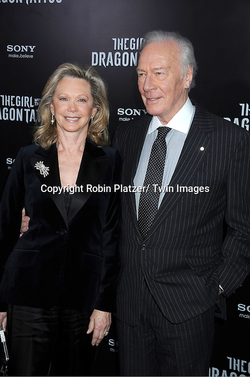 """Christopher Plummer and wife Elaine  attends the New York Premiere of """"The Girl With The Dragon Tattoo"""" on December 14, 2011 at The Ziegfeld Theatre in New York City. The movie stars Daniel Craig, .Rooney Mara, Christopher Plummer, Stellan Skarsgard, Robin Wright and Joely Richardson."""