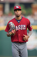 Lehigh Valley Iron Pigs right fielder Nick Williams (4) jogs off the field between innings of the game against the Charlotte Knights at BB&T BallPark on June 3, 2016 in Charlotte, North Carolina.  The Iron Pigs defeated the Knights 6-4.  (Brian Westerholt/Four Seam Images)