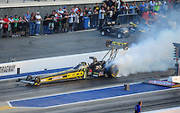 Apr. 13, 2012; Concord, NC, USA: NHRA top fuel dragster driver Morgan Lucas during qualifying for the Four Wide Nationals at zMax Dragway. Mandatory Credit: Mark J. Rebilas-