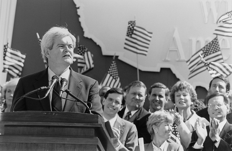 House Minority Whip Rep. Newt Gingrich, R-Ga., at the Contract with America event west front, on Capitol Hill on Sep. 27, 1994. (Photo by Chris Martin/CQ Roll Call via Getty Images)
