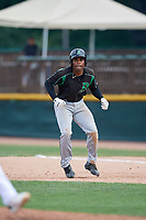 Dayton Dragons designated hitter Malik Collymore (6) leads off first base during a game against the Beloit Snappers on July 22, 2018 at Pohlman Field in Beloit, Wisconsin.  Dayton defeated Beloit 2-1.  (Mike Janes/Four Seam Images)