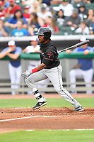 Birmingham Barons left fielder Luis Basabe (3) swings at a pitch during a game against the Tennessee Smokies at Smokies Stadium on May 15, 2019 in Kodak, Tennessee. The Smokies defeated the Barons 7-3. (Tony Farlow/Four Seam Images)