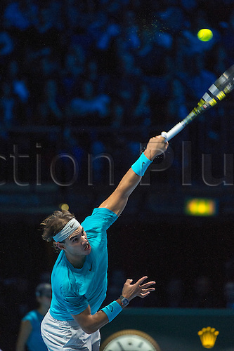 08.11.2013 London, England.  Rafael Nadal [ESP] serves during his match against Tomas Berdych [CZE] on day 5 of The ATP World Tour Finals 2013, Tennis Tournament at the O2 Arena London.