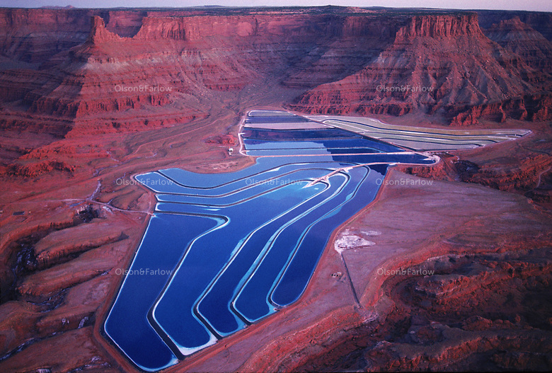 Settling ponds from a phosphate mine outside Canyonlands National Park in southern Utah.