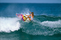 Wendy Botha (AUS) surfing Off The Wall on the North Shore of Oahu in Hawaii. circa 1991 Photo: joliphotos.com
