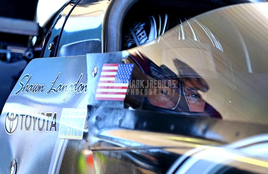 Sept. 22, 2013; Ennis, TX, USA: NHRA top fuel dragster driver Shawn Langdon during the Fall Nationals at the Texas Motorplex. Mandatory Credit: Mark J. Rebilas-