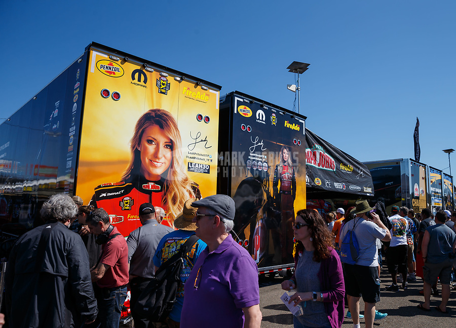 Mar 18, 2017; Gainesville , FL, USA; Pit area for NHRA top fuel driver Leah Pritchett during qualifying for the Gatornationals at Gainesville Raceway. Mandatory Credit: Mark J. Rebilas-USA TODAY Sports