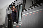 © Joel Goodman - 07973 332324 . 24/05/2014 . Heywood Station , Railway Street , Heywood, UK . Engine driver . 1940s weekend on the East Lancs Railway , with visitors dressed up and partaking in 40s-themed events . Photo credit : Joel Goodman
