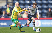 Preston North End's Tom Barkuizen battles with  Norwich City's Steven Naismith<br /> <br /> Photographer Mick Walker/CameraSport<br /> <br /> The EFL Sky Bet Championship - Preston North End v Norwich City - Monday 17th April 2017 - Deepdale - Preston<br /> <br /> World Copyright &copy; 2017 CameraSport. All rights reserved. 43 Linden Ave. Countesthorpe. Leicester. England. LE8 5PG - Tel: +44 (0) 116 277 4147 - admin@camerasport.com - www.camerasport.com