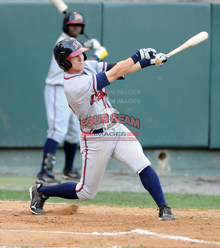 Outfielder Bobby Rauh (23) of the Danville Braves in a game against the Pulaski Mariners on July 19, 2010, at Calfee Park in Pulaski, Va. Photo by: Tom Priddy/Four Seam Images
