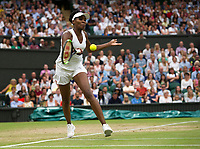 Venus Williams (10) of United States in action during her victory over Jelena Ostapenko (13) of Latvia in their Ladies' Singles Quarter Final Match today - Williams def Ostapenko 6-3, 7-5<br /> <br /> Photographer Ashley Western/CameraSport<br /> <br /> Wimbledon Lawn Tennis Championships - Day 8 - Tuesday 11th July 2017 -  All England Lawn Tennis and Croquet Club - Wimbledon - London - England<br /> <br /> World Copyright &not;&copy; 2017 CameraSport. All rights reserved. 43 Linden Ave. Countesthorpe. Leicester. England. LE8 5PG - Tel: +44 (0) 116 277 4147 - admin@camerasport.com - www.camerasport.com