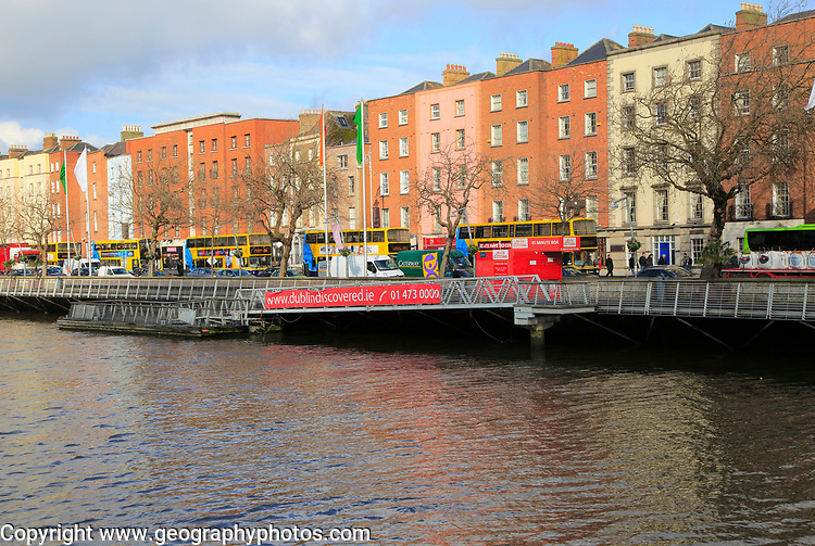 Colourful historic buildings north bank River Liffey city centre, Dublin, Ireland, Irish Republic