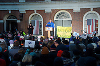 Representative Joe Kennedy at Save Affordable Care Act rally with MA Congressional delegation at Faneuil Hall Boston MA 1.15.17