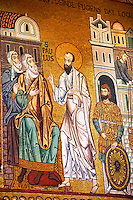 Byzantine mosaics at the Palatine Chapel ( Capella Palatina ) Norman Palace Palermo, Sicily, Italy. St Paul.