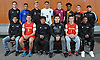 Members of Newsday's 2018 All-Long Island boys soccer team pose for a group portrat at company headquarters in Melville on Thursday, Nov. 29, 2018. Appearing are, FRONT ROW, FROM LEFT: Rolman Guardado of Amityville, Brendan Slattery of Chaminade, Henry Martinez of Amityville, Andrew Weiner of Mepham, Ben Szemerenyi of Chaminade and Kymani Hines of Amityville. BACK ROW, FROM LEFT: Coach Zachary Gosse of Mepham, Mauricio Puerrto-Quintanilla of Lawrence, Matt Cozetti of Commack, Erick Turcios of Westbury, James Basile of Garden City, Jevon Burke of St. Anthony's, Lorenzo Selini of Newfield and Coach Mike Abbondondolo of Amityville.