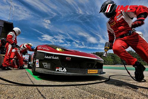 8-10 August 2014, Elkhart Lake, Wisconsin USA<br />  555, Ferrari, 458 Italia, GTD, Bill Sweedler, Townsend Bell pit stop <br /> &copy;2014, Michael L. Levitt<br /> LAT Photo USA for IMSA