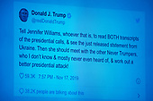 United States President Donald J. Trump's tweet directed towards Jennifer Williams, Special Advisor for Europe and Russia, Office of the Vice President, as she testifies during the US House Permanent Select Committee on Intelligence public hearing as they investigate the impeachment of US President Donald J. Trump on Capitol Hill in Washington, DC on Tuesday, November 19, 2019.<br /> Credit: Ron Sachs / CNP<br /> (RESTRICTION: NO New York or New Jersey Newspapers or newspapers within a 75 mile radius of New York City)