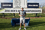 19 MAY 2016: Hugo Bernard of St. Leo University poses with the trophy during the 2016 Division II Men's Individual Golf Championship held at Green Valley Ranch Golf Club in Denver, CO. Bernard shot -13 to win the individual national title. Justin Tafoya/NCAA Photos