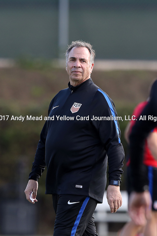11 January 2017: Head coach Bruce Arena. The United States Men's National Team held their first training session under new head coach Bruce Arena on The Murphy Family Field at the StubHub Center in Carson, California.