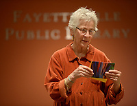 NWA Democrat-Gazette/ANDY SHUPE<br /> Nancy Hartney of Fayetteville holds one of her handmade cards Wednesday, Jan. 10, 2018, while leading a stationary-making workshop at the Fayetteville Public Library.