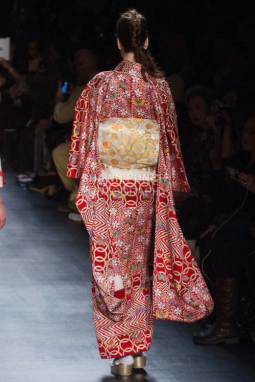 "Model walks runway in an "" Animated life"" silk kimono from the Hiromi Asai Fall Winter 2016 ""Spirit of the Earth"" collection by Hiromi Asai & Kimono Artisan Kyoto, presented at NYFW: The Shows Fall 2016, during New York Fashion Week Fall 2016."