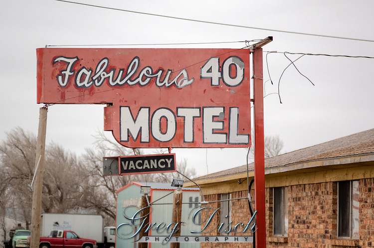 Old sign for the Fabulous 40 Motel in Adrian Texas the midpoint of Route 66.