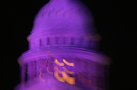 Texas State Capitol Dome floodlit purple, Austin, Texas, USA