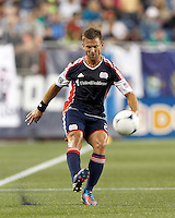 New England Revolution defender Flo Lechner (2) passes the ball. In a Major League Soccer (MLS) match, the New England Revolution tied Philadelphia Union, 0-0, at Gillette Stadium on September 1, 2012.