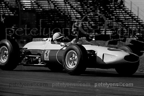 John Surtees in Ferrari during practice for 1964 US Grand Prix at Watkins Glen; Photo by Pete Lyons 1964/ © 2014 Pete Lyons / petelyons.com