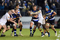 James Wilson of Bath Rugby takes on the Wasps defence. Aviva Premiership match, between Bath Rugby and Wasps on December 29, 2017 at the Recreation Ground in Bath, England. Photo by: Patrick Khachfe / Onside Images