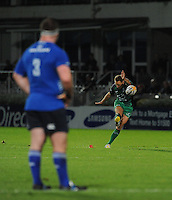 26th October 2013; Leinster's Michael Bent watches as Dan Parks kicks to score a penalty for Connacht. Rabodirect Pro12, Leinster v Connacht, Royal Dublin Society, Dublin. Picture credit: Tommy Grealy/actionshots.ie.
