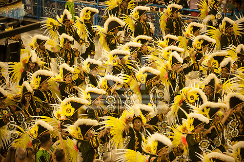 Imperatriz Leopolinense Samba School, Carnival, Rio de Janeiro, Brazil, 26th February 2017. Samba dancers dressed in 16th century uniforms to represent the arrival of Europeans in Brazil.