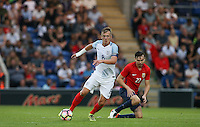 James Ward-Prowse (Southampton) of England shakes off an Ole Selnaes of Norway  challenge during the International EURO U21 QUALIFYING - GROUP 9 match between England U21 and Norway U21 at the Weston Homes Community Stadium, Colchester, England on 6 September 2016. Photo by Andy Rowland / PRiME Media Images.