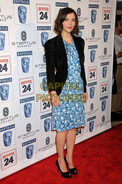 MAGGIE GYLLENHAAL .Attending the 16th Annual BAFTA LA Awards Season Tea Party held at the Beverly Hills Hotel, Beverly Hills, California, USA, 16th January 2010..arrivals full length black blazer jacket blue print dress shoes peep toe platform heels and white  .CAP/ADM/BP.©Byron Purvis/Admedia/Capital Pictures