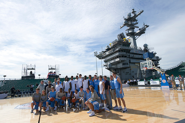 SAN DIEGO, CA - NOVEMBER 11, 2011: The North Carolina Tar Heels posing for a team photo while on the USS Carl Vinson prior to the start of the 2011 Quicken Loans Carrier Classic versus the Michigan State Spartans..(Photo by Phil Ellsworth / ESPN)..- RAW FILE AVAILABLE -.- CMI000165135.jpg -